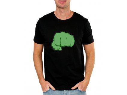 pánské černé tričko hulk pěst