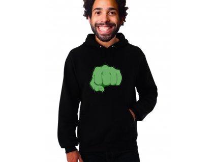 unisex mikina s kapucí hulk pěst