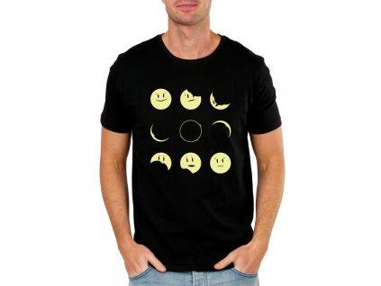 pánské černé tričko měsíc smajlík