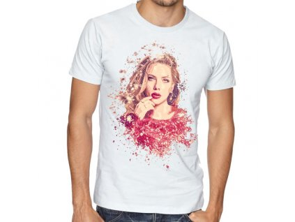 Pánské bílé tričko Scarlett Johansson Kresba