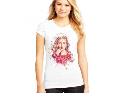 Dámské bílé tričko Scarlett Johansson Kresba