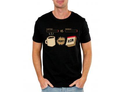 pánské černé tričko bitva pondělku kafe vs pondělí