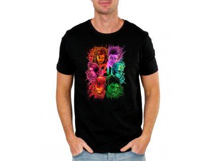 pánské černé tričko s potiskem iron man, avengers infinity war, thor, thanos, hulk