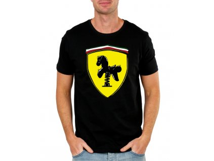 pánské černé tričko s logem ferrari
