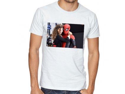 pánské bílé tričko zendaya a spiderman