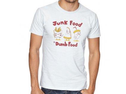 pánské bílé tričko nezdravé jídlo je hloupé jídlo