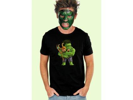 pánské černé tričko s potiskem hulk a loki avengers, nejlepší kamarádi