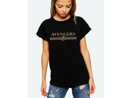 dámské černé tričko avengers x gucci