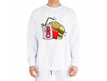 mikina bez kapuce Kola hranolky hamburger