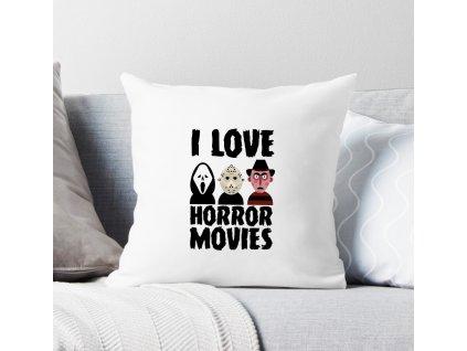 polštář bílý Miluji horory
