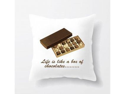 polštář Forrest Gump Život je jako bonboniéra