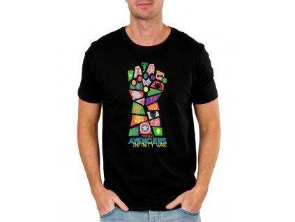 pánské černé tričko s potiskem avengers s motivem ruky thanos