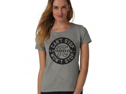 dámské šedé tričko číslice pí