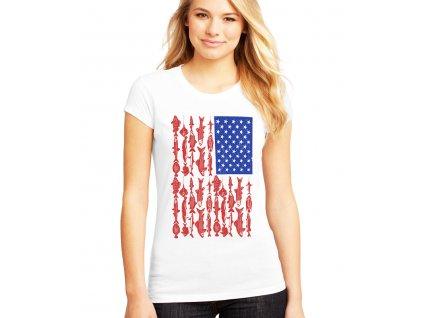 dámské tričko rybaření americká vlajka
