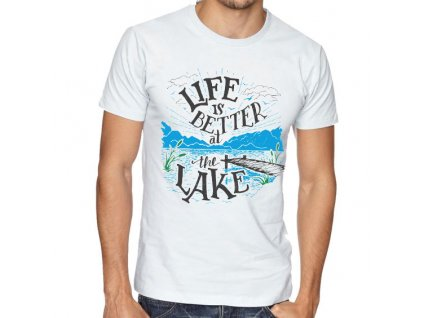 Pánské Tričko rybaření život je lepší u jezera
