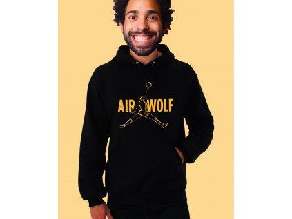 černá unisex mikina s kapucí Air Wolf
