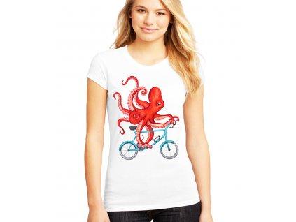Dámské tričko Cyklista Chobotnice