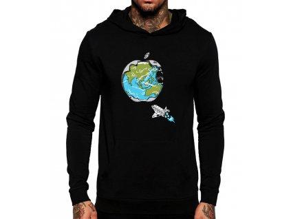 černá unisex mikina s kapucí Apple svět