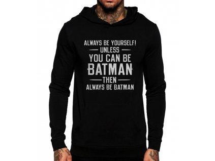 černá unisex mikina s kapucí Batman