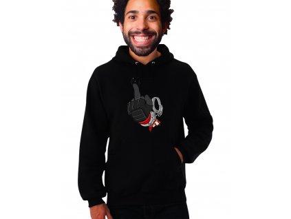 černá unisex mikina s kapucí Deadpool a Prostředníček