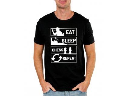Pánské tričko Najíst Vyspat Šachy Opakovat