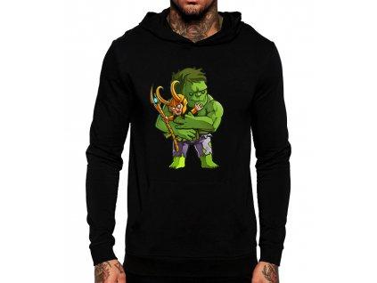 černá unisex mikina s kapucí Hulk a Loki Avengers