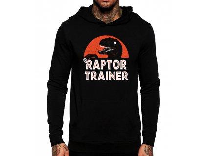 černá unisex mikina s kapucí Jurský Park Raptor Trainer