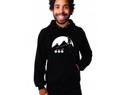 černá unisex mikina s kapucí Mars