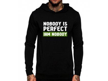 černá unisex mikina s kapucí Nikdo není dokonalý