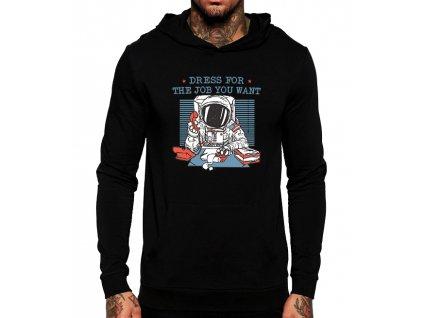 černá unisex mikina s kapucí Práce Kosmonaut