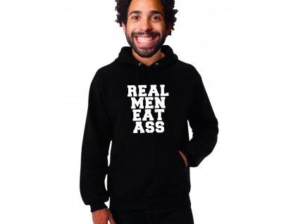 černá unisex mikina s kapucí Real Men Eat Ass