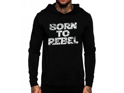 černá unisex mikina s kapucí Rebel