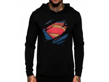 černá unisex mikina s kapucí Superman