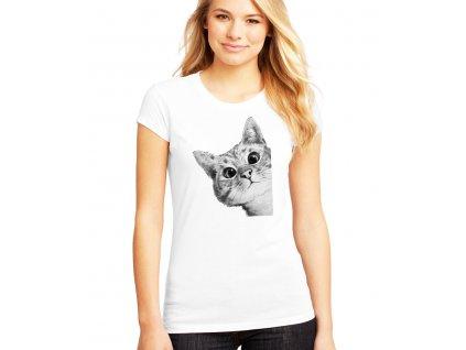 Dámské tričko Zvědavá kočička