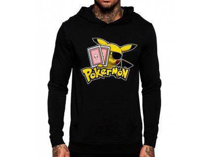 unisex černá mikina s kapucí poker, pokemon