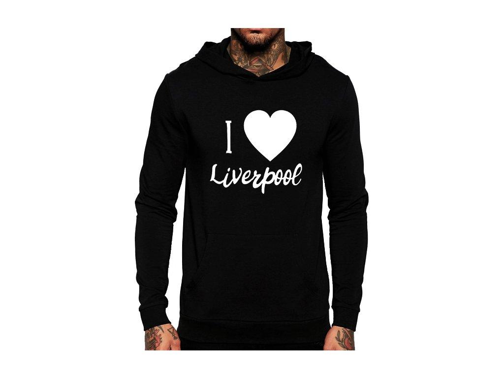 unisex černá mikina s kapucí Miluji Liverpool fc b718f563fb6