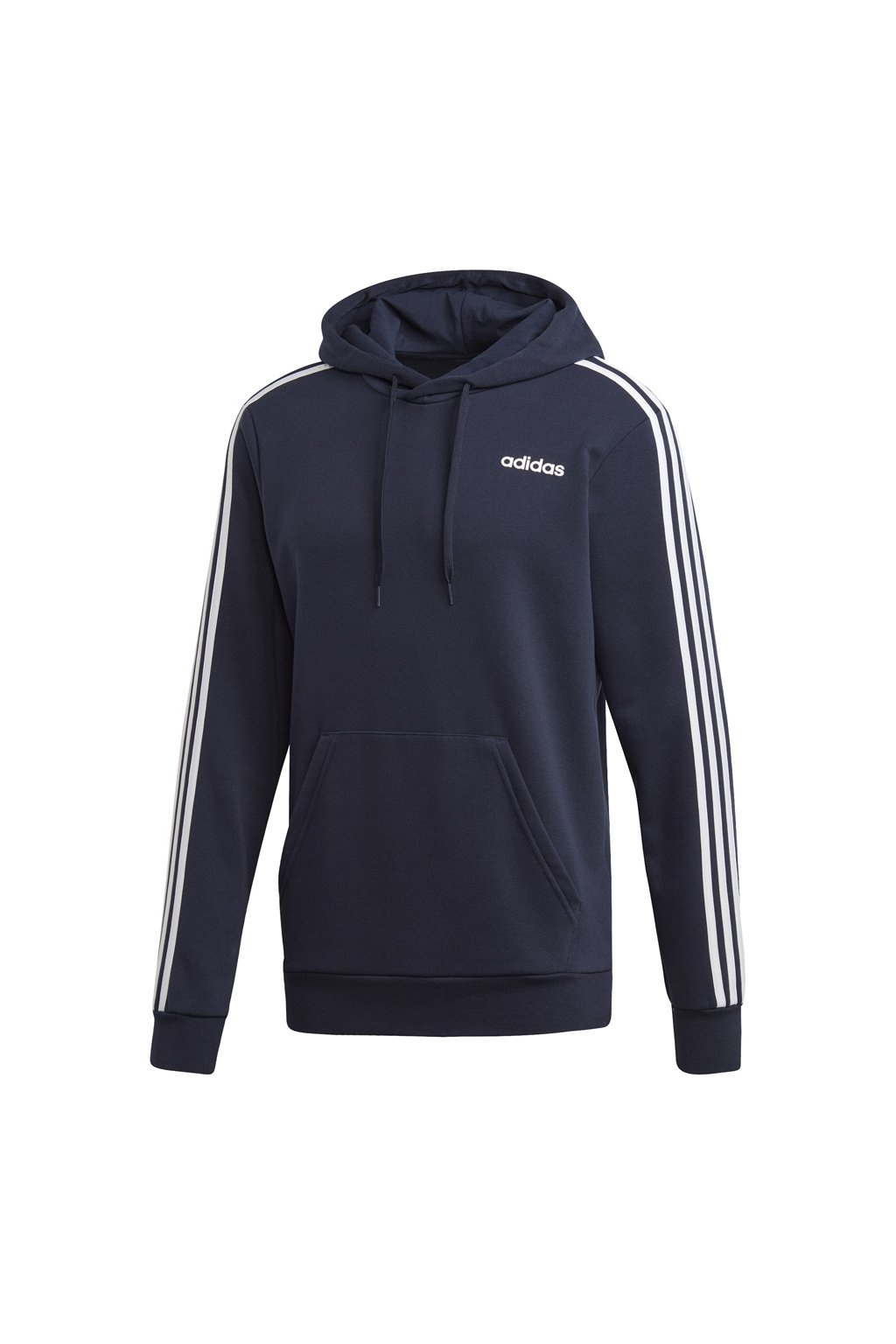 Pánska mikina Adidas Essentials 3 Stripes s kapucňou French Terry navy blue DU0499