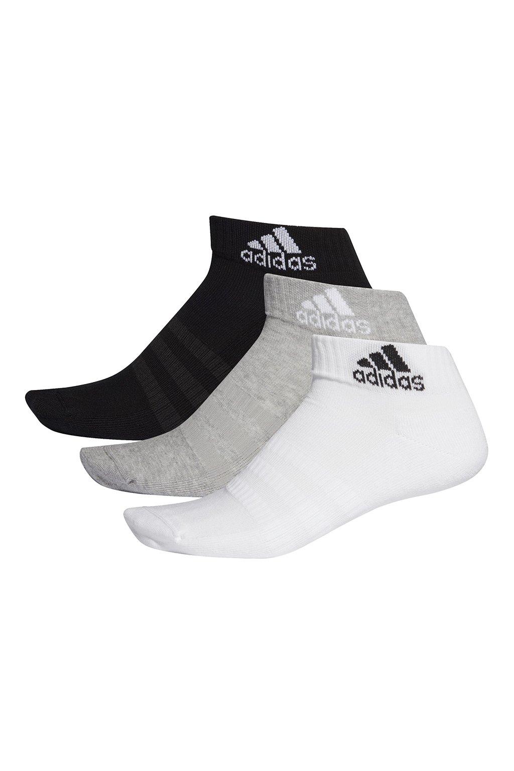 Ponožky Adidas Cushlined Ankle 3PP biele, čierne, sivé DZ9364