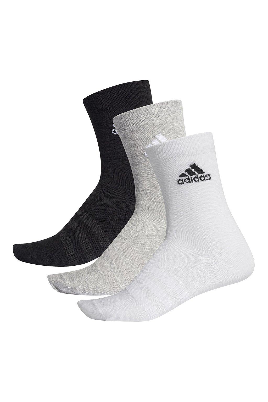 Ponožky Adidas Light Crew 3PP čierne, biele, sivé DZ9392