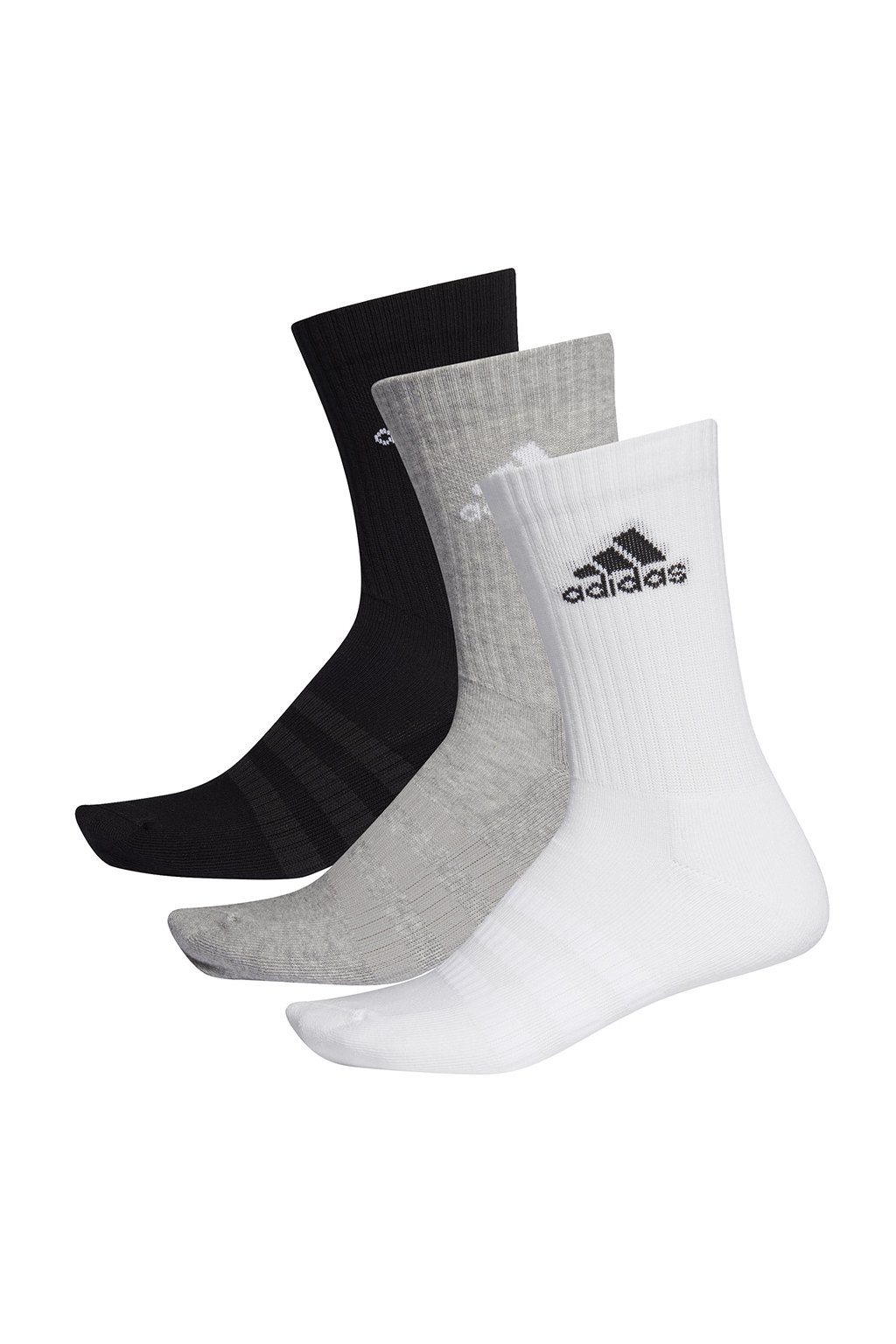 Ponožky Adidas Cushlined Crew 3PP čierne, biele, sivé DZ9355