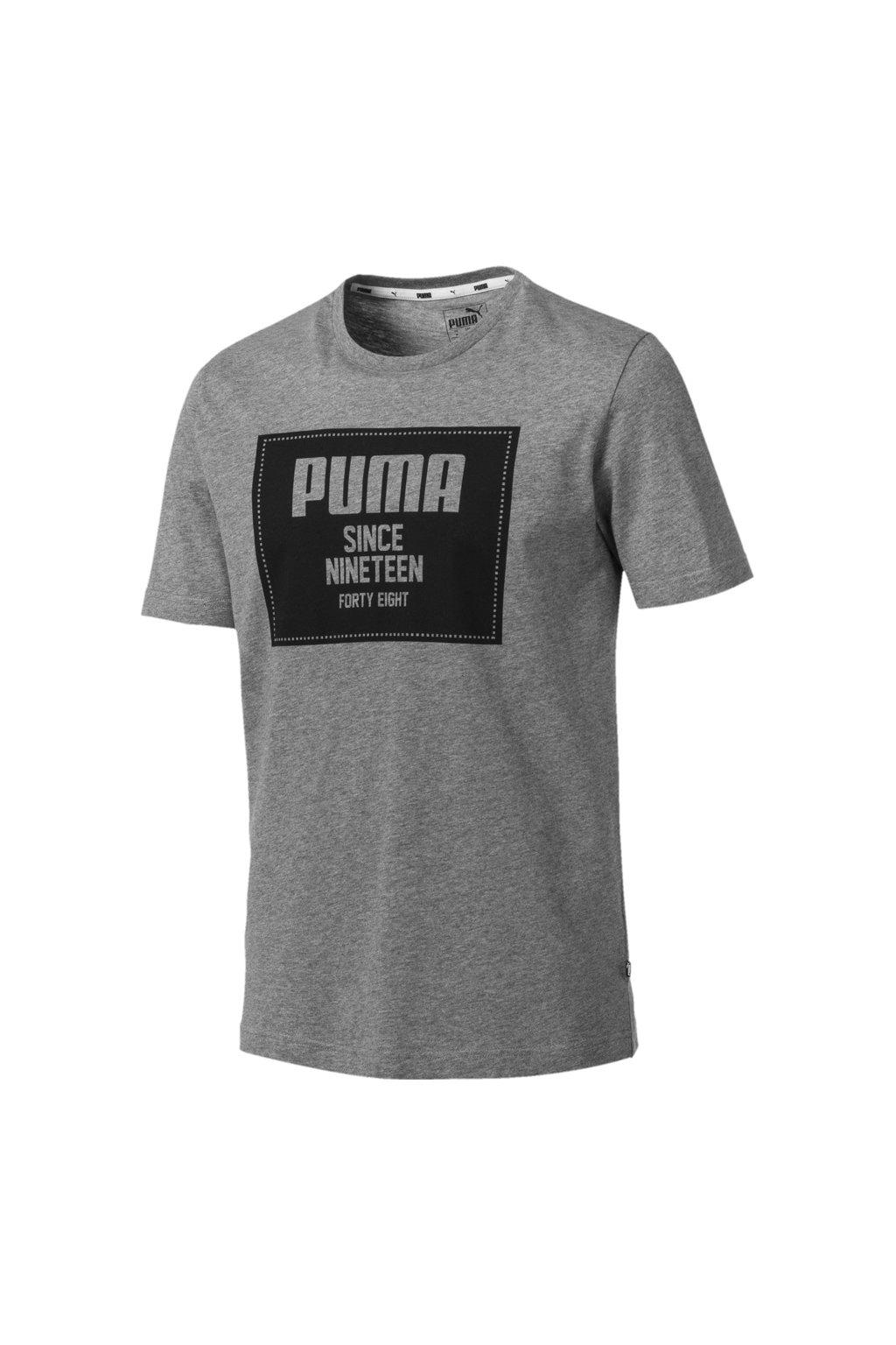 Pánske tričko Puma Rebel Block Basic Tee šedé 852395 03