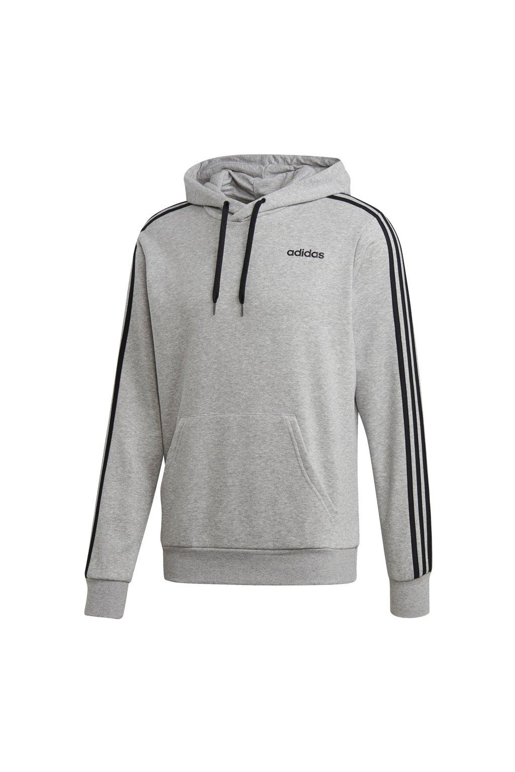 Pánska mikina Adidas Essentials 3 Stripes PO FT šedá DQ3091