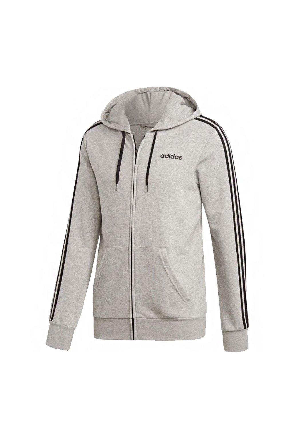 Pánska mikina Adidas Essentials 3 Stripes Fullzip sivá DU0473