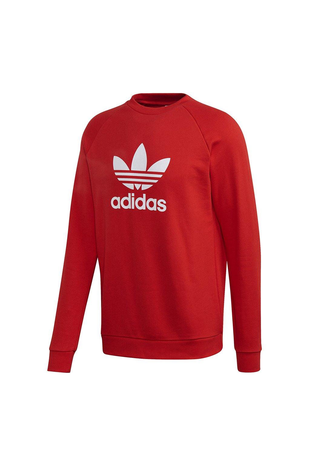 Pánska mikina Adidas Trefoil Crew červená FM3781