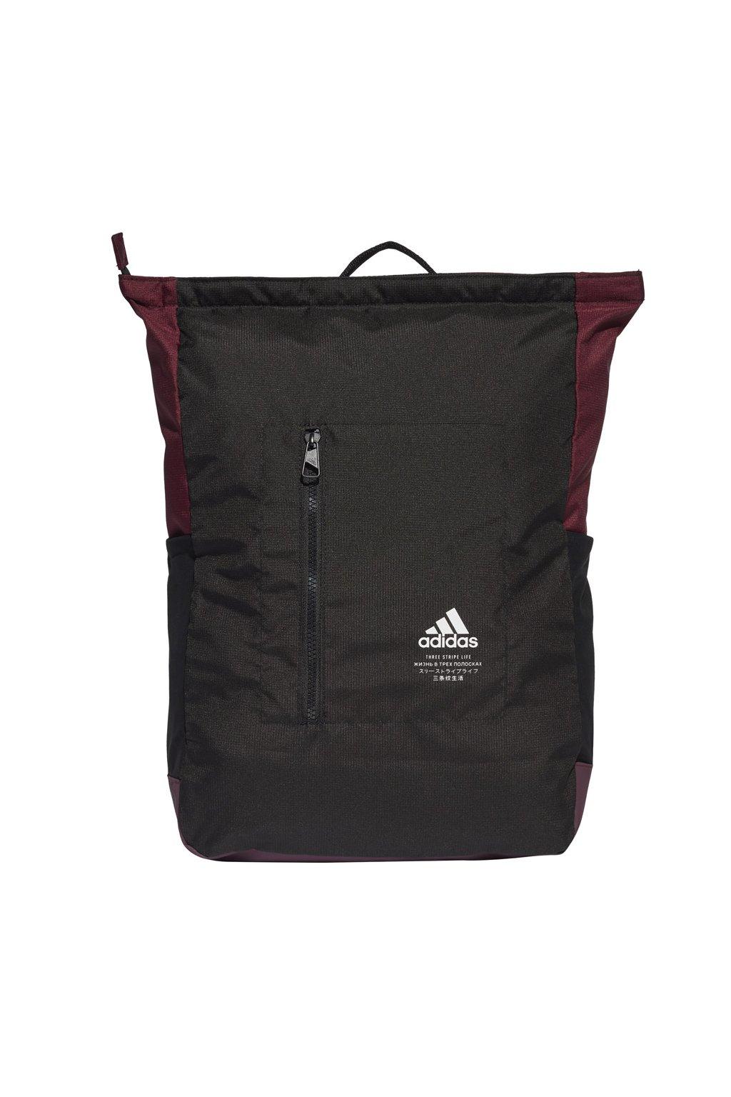 Batoh adidas Classic BP TOP ZIP čierno-bordový FS8339