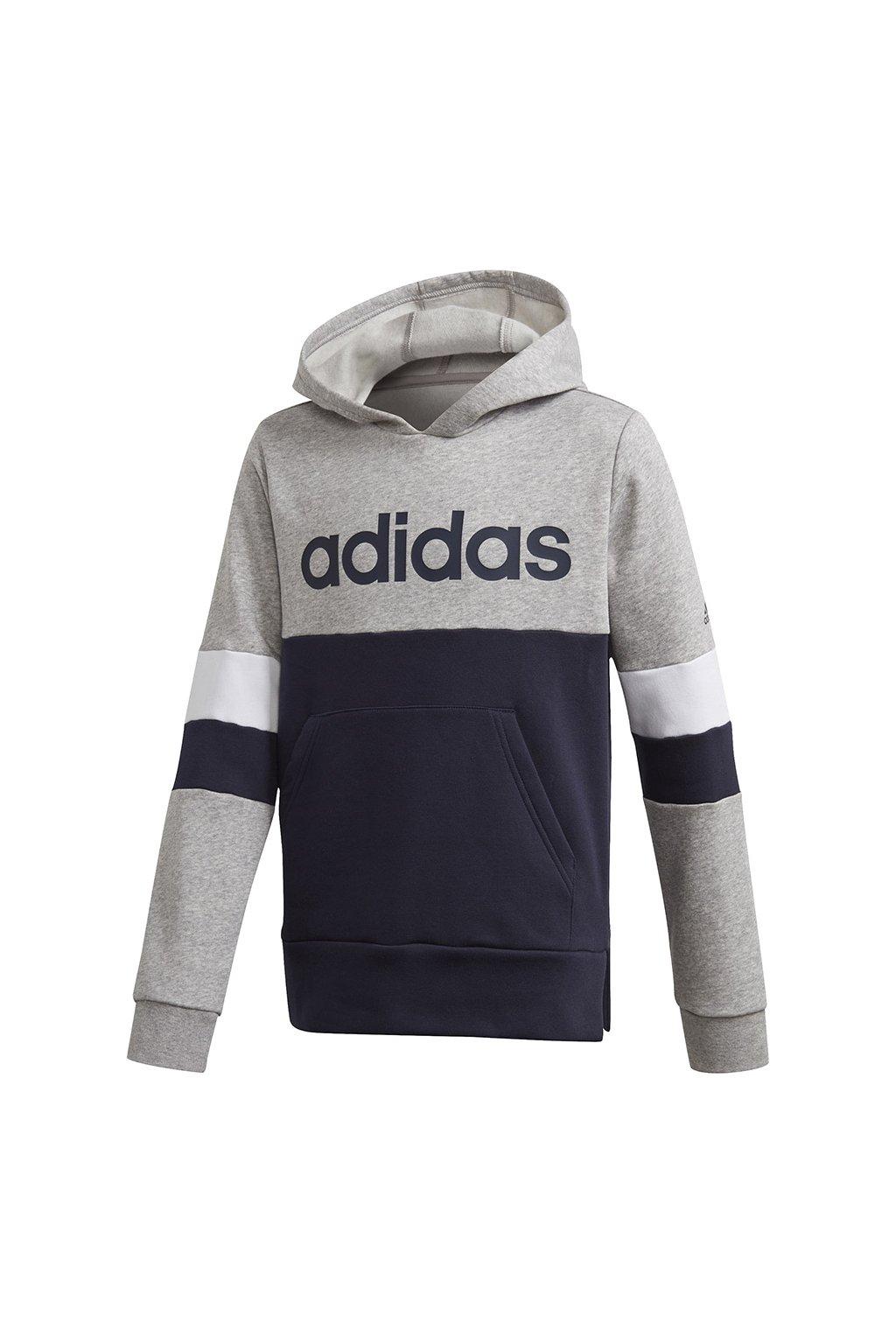 Chlapčenská mikina Adidas Linear Colorbock Hooded Fleece šedo modrá GD6323