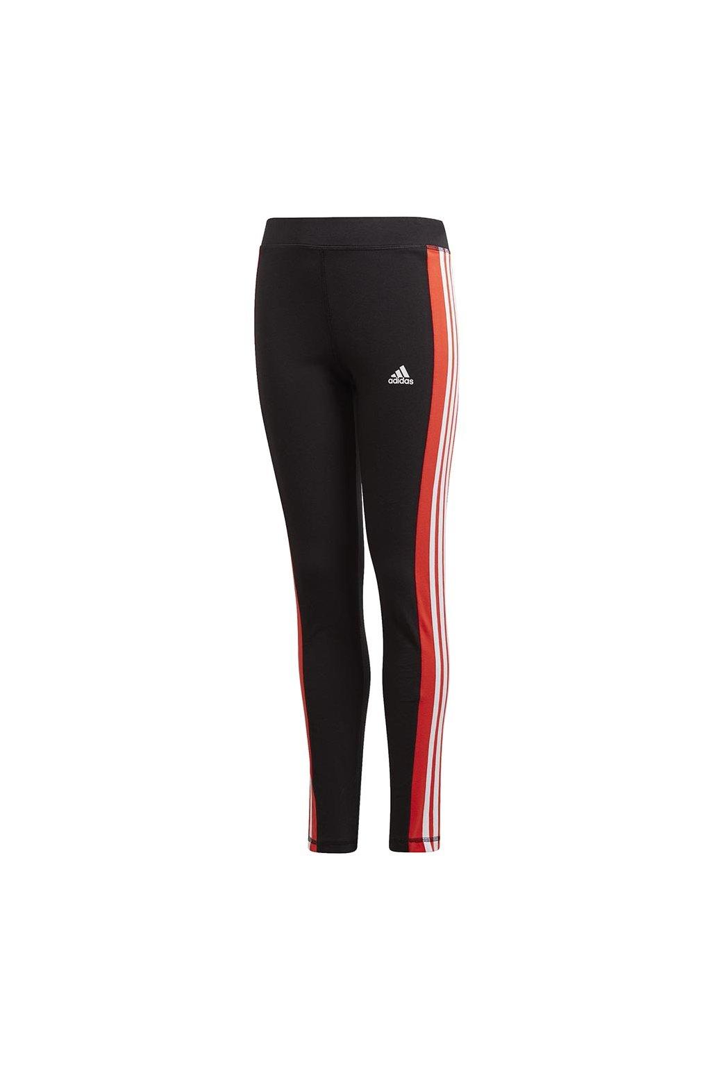Detské legíny Adidas Yg Lin 3s Tight čierno-červené GD6214