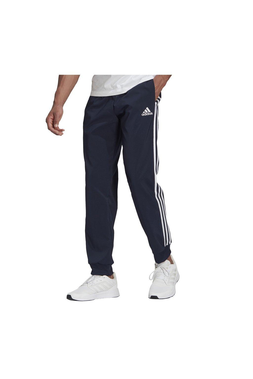Pánske nohavice adidas Essentials Tapered Cuff 3 Stripes Pants tmavomodré GK8981