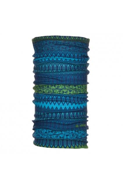 Športový šál - bandana Viking Regular modro-zelený 679809