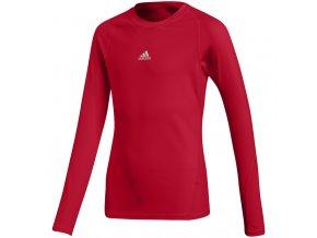 Detské tričko adidas Alphaskin Sport LS Tee JUNIOR červené CW7321